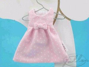 Dragees bapteme dans robe rose a pois blanc | Dragées Baptême Faller
