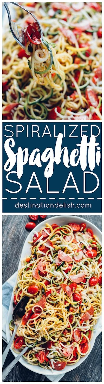 Spiralized Spaghetti Salad // zesty favorite made healthy with zucchini noodles, turkey pepperoni & plenty of chopped veggies #lowcarb