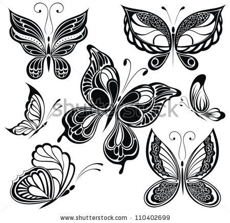Black and white butterflies.Tattoo design - stock vector