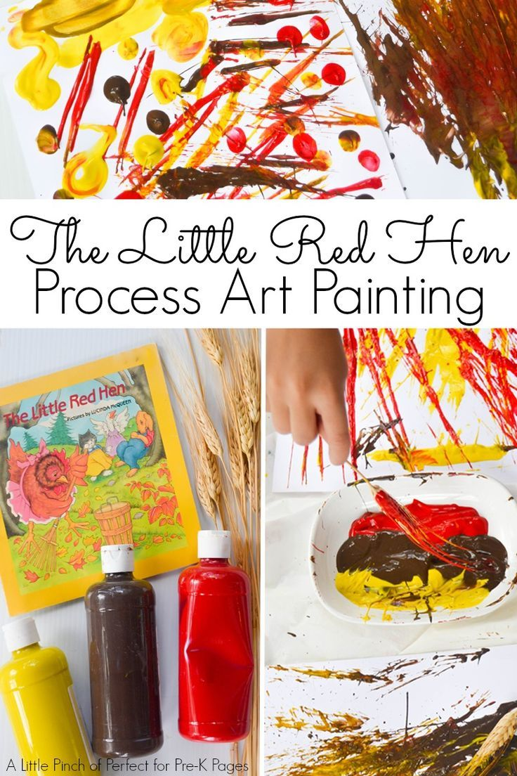 Little Red Hen: Painting with Wheat. A fun process art project to go along with the story of The Little Red Hen at home or in your preschool classroom! - Pre-K Pages
