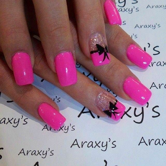 Pink nails with a black bow! These are so awesome!! #Acrylic #designs #nail polish #nail art