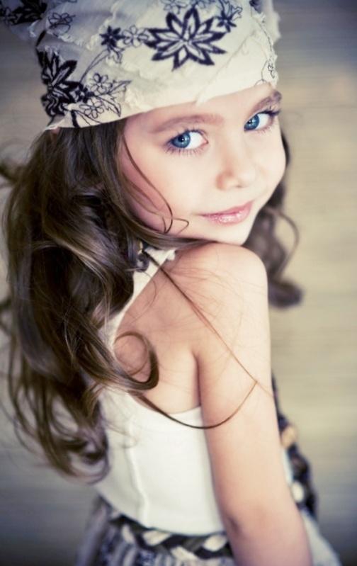 Blue hair eyes with beautiful brown girls