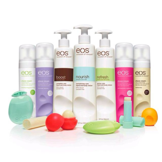 eos lotion, shave cream, and lip balm.