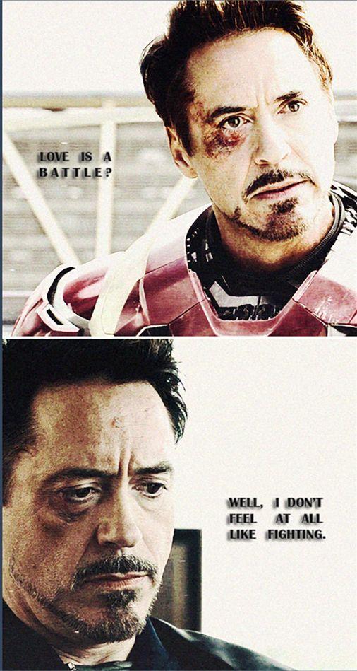 "Tony Stark. (Quote: Milan Kundera, ""The Unbearable Lightness of Being"")"
