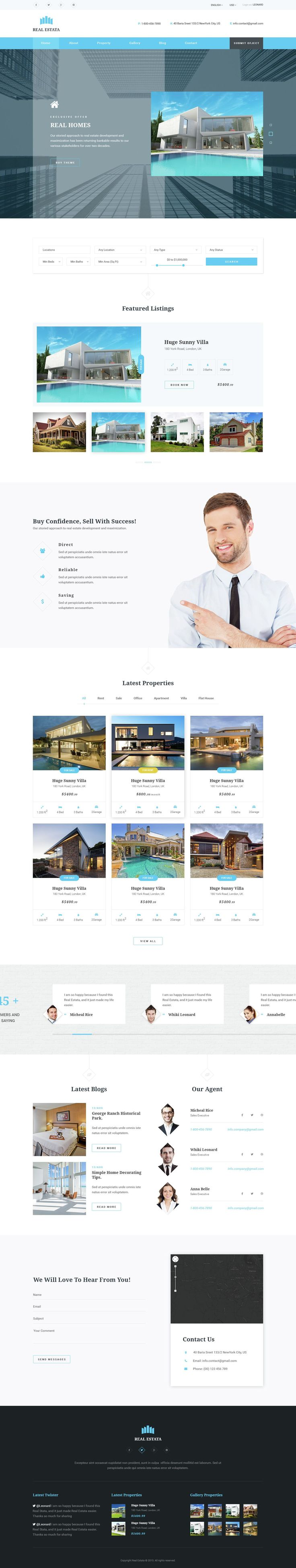 REAL ESTATA is a Real Estate #PSD Theme for agents, #realestate, rent companies. #website #template