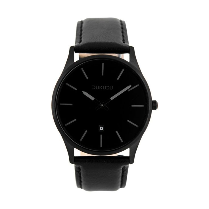 Sanne watch from Dukudu. Totally black watch for women. Reloj Dukudu en negro con correa de cuero de 40 mm  de esfera.