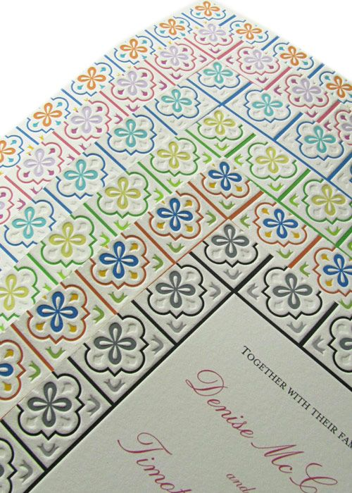 Mexican Talavera Letterpress Light Wedding Invitations- fits in with that spanish style of palm springs!