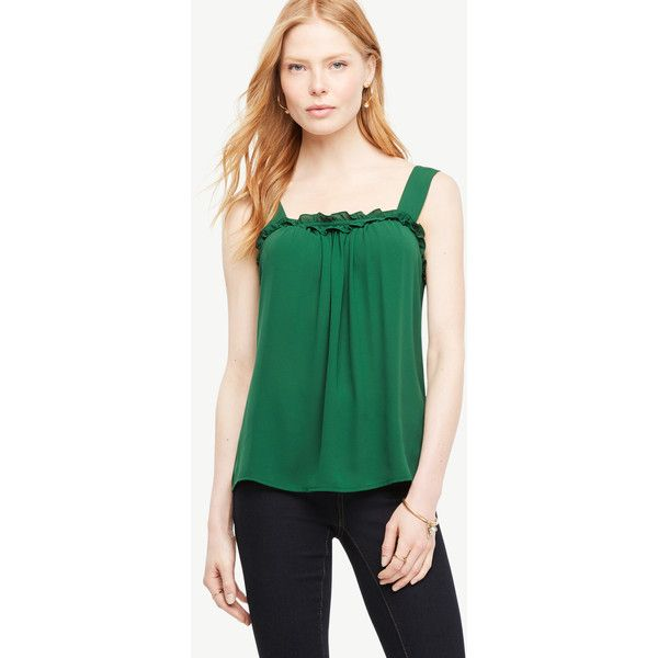 Ann Taylor Ruffle Tank ($70) ❤ liked on Polyvore featuring tops, green eden, green top, strappy tank top, green tank top, camisole tops and ruffle tanks