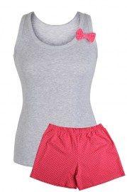 MUZZY nightwear, piżama damska, szara bokserka, różowe krótkie spodenki, z kokardką, bokserka szara, piżama na lato, więcej na www.muzzy.pl/sklep