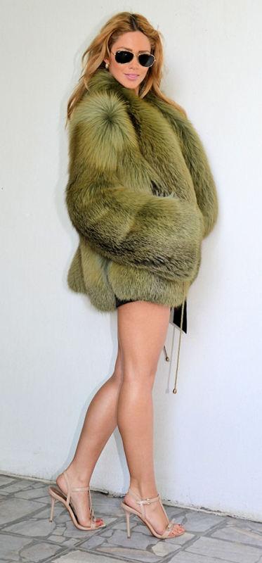 Green Fox Fur Jacket, dainty  neutral shoes