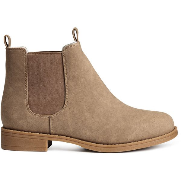 H&M Chelsea boots ($39) ❤ liked on Polyvore featuring shoes, boots, ankle booties, chelsea boots, hm, beige, h&m, h&m boots, beatle boots i beige ankle booties