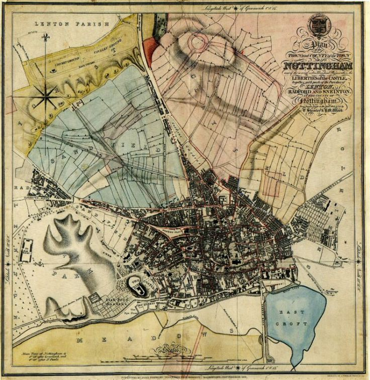 Map of 19th century Nottingham - reproduced by kind permission of Nottinghamshire County Archive.
