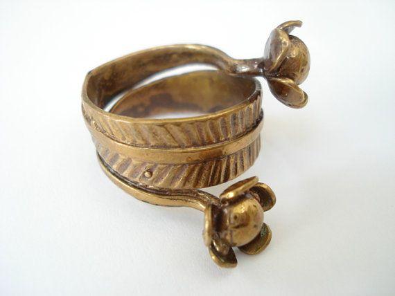 Vintage Seppo Tamminen Finland Bronze Flower Modernist Ring Sz 9
