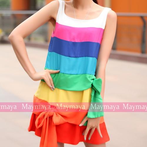 rainbow bow dress