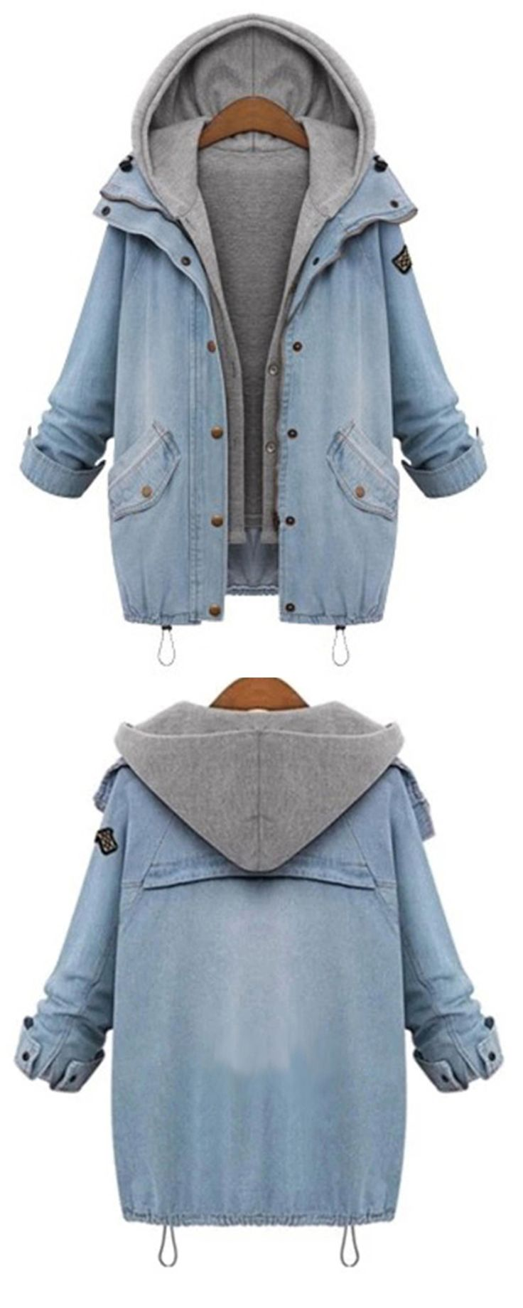 Hooded Drawstring Boyfriend Trends Jean Swish Pockets Coat