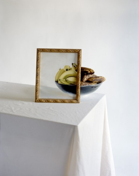 John Chervinsky, Bananas in Bowl with Painting on Table  2010