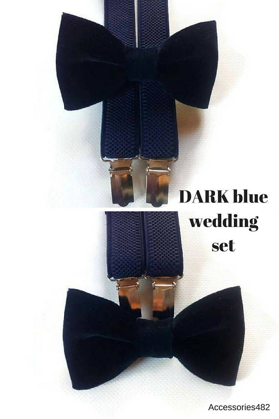 Dark blue Velvet bow tie NAVY  blue suspenders navy wedding