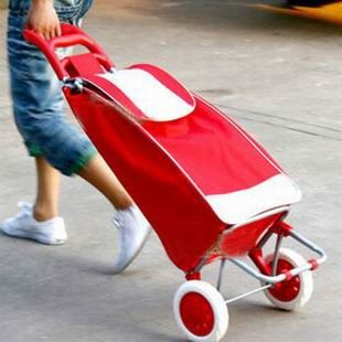 Fioletowy niebieski czerwony rower składany koszyk na zakupy wózek bagażowy przenośne