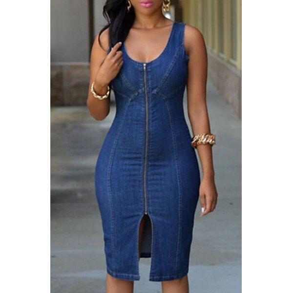 Sexy U-Neck Sleeveless Bodycon Zip Up Women's Denim Dress (BLUE,L) in Dresses | DressLily.com