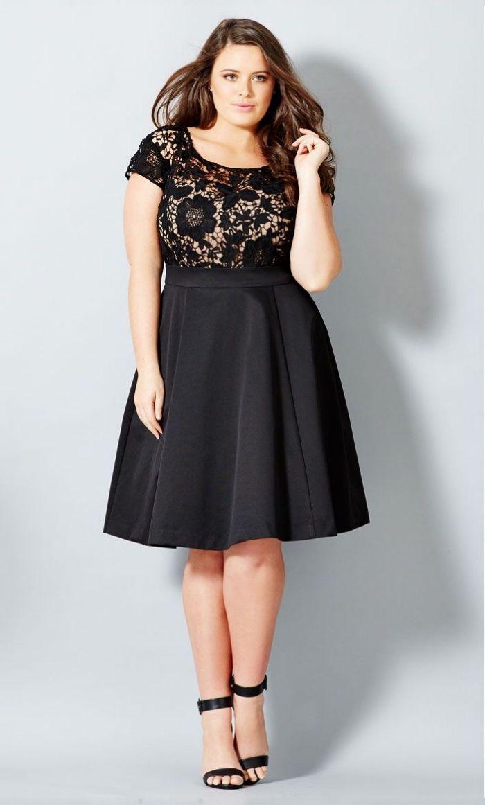 Festliche Kleider Fur Grosse Grossen Abiballkleider Ideen Kurzes Schwarzes Kleid In A Linie Offene Haare Kleid Plus Grossen Kleidung Damenmode Kleider