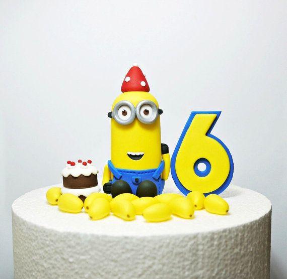 Fondant Minions Inspired Cake Topper , Fondant Minion birthday, Handcraft fondant topper