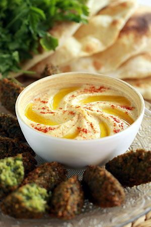 Hummus, falafel with peas and Lebanese pita bread recipes