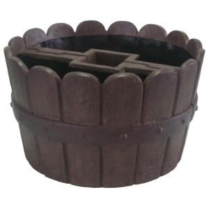 MPG 20 in. D Cast Stone Mailbox Planter in Barrel Finish-PF5764B at The Home Depot