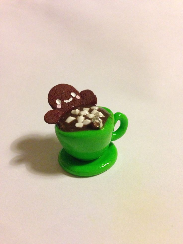 Gingerbread Man in Hot Chocolate polymer clay charm