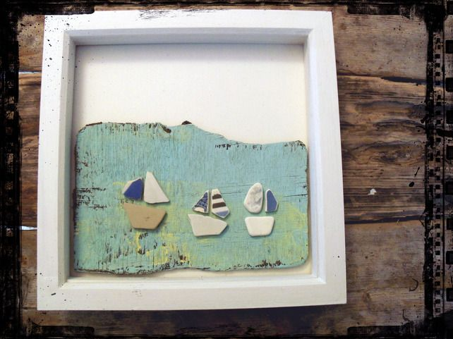 Framed Driftwood Beach Boats  (Available on Folksy.com, click if you're interested)
