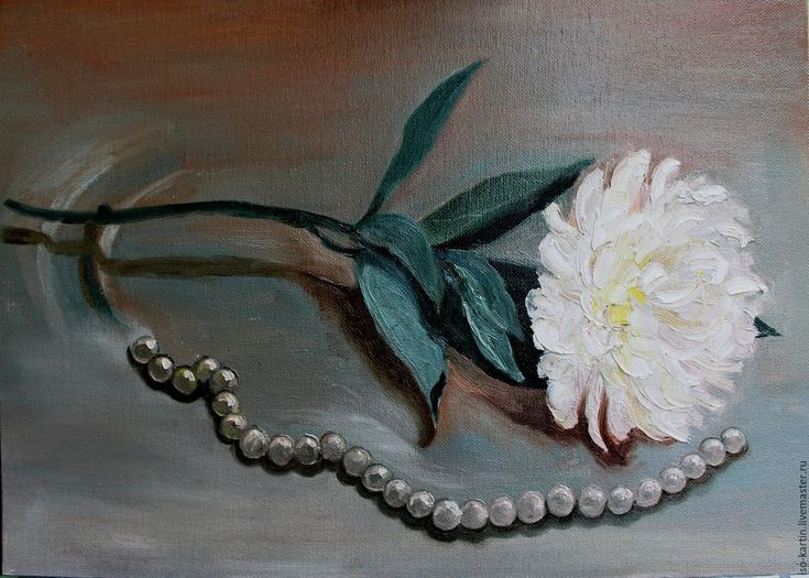 Купить Картина маслом. Лаконичность - серебряный, жемчуг, картина с жемчугом, цветы маслом, пионы, хризантемы