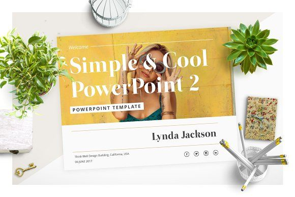 Simple & Cool PowerPoint Template 2 by Wipavee on @creativemarket