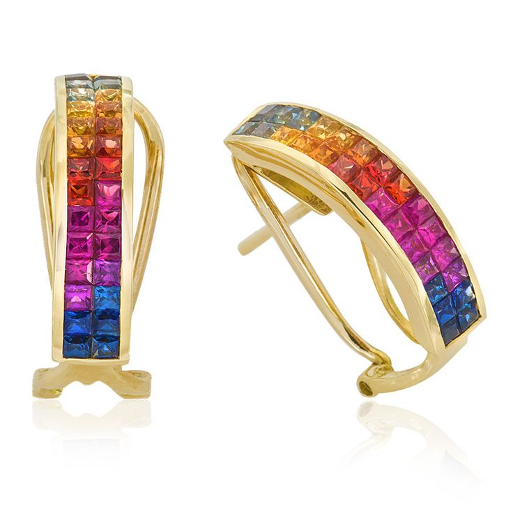 Colour your world with these vibrant Kaleidoscope Sapphire Earrings for pierced ears. Crafted in 18ct yellow gold. Length 30mm. Width 5mm.