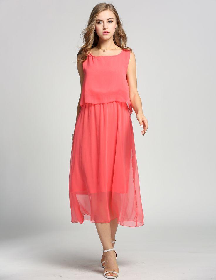 Watermelon red Women BohemiaPleated Wave Lace Strap Princess Chiffon Maxi long Casual Dresses dresslink.com