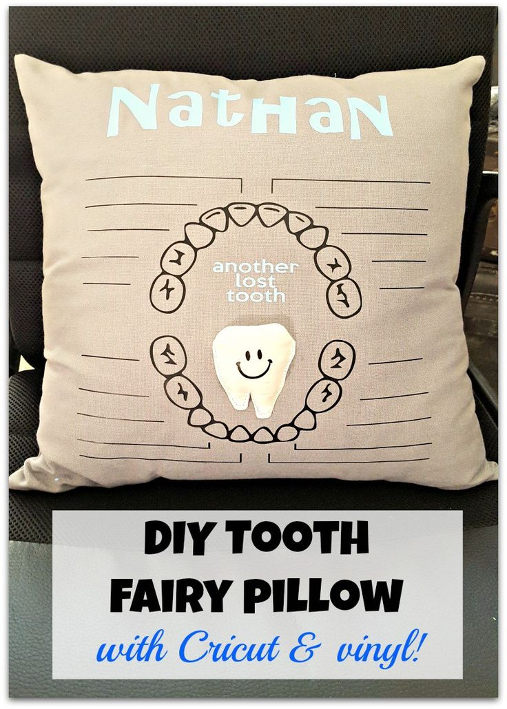 What a cute DIY tooth fairy pillow and all you need is a Cricut and some heat transfer vinyl to make it!