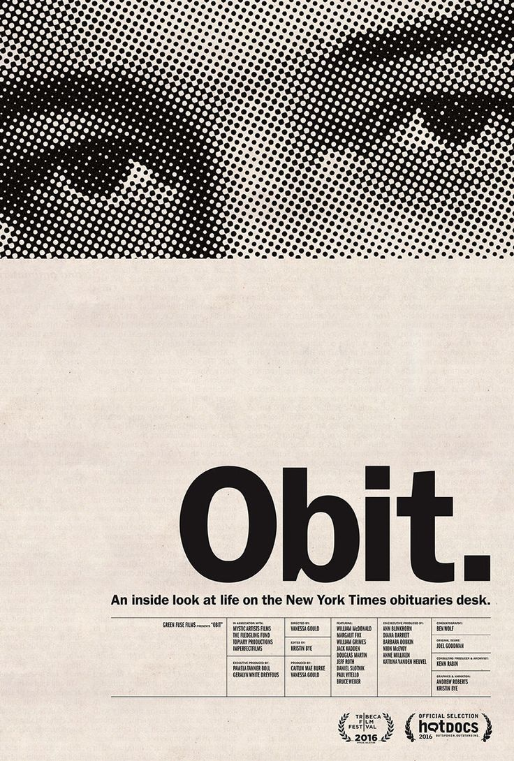 Obit poster designed by Kristin Bye