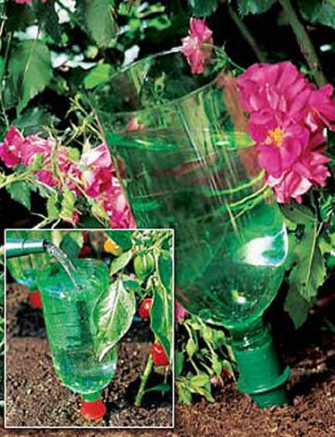 Turn your old soda bottles into an easy, inexpensive irrigation system. The AquaCones fit 1-liter and 2-liter bottles. You just cut the bottom off the soda bottles and put it in the cone.