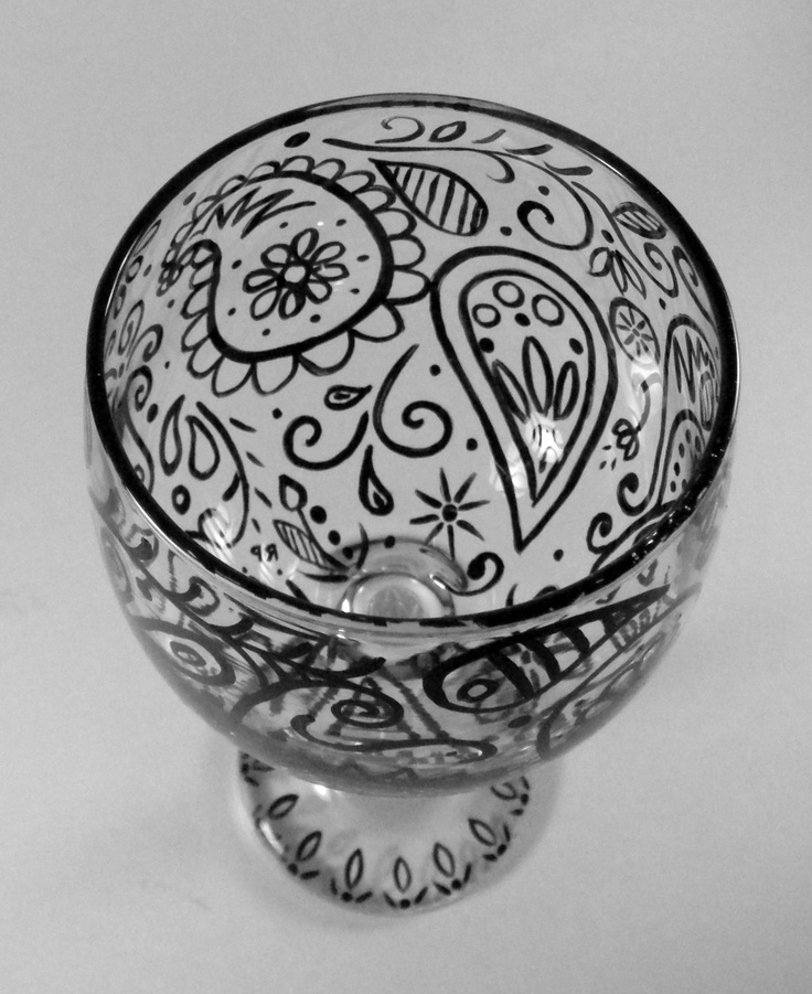Paisley hand painted wine glass.