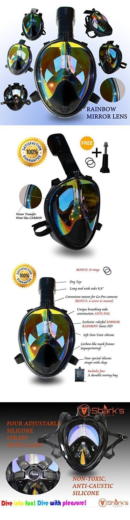 Masks 71161: Snorkel Dive Full Face Scuba Mask Rainbow Mirror Lenses Panoramic Seaview Water -> BUY IT NOW ONLY: $88.15 on eBay! http://www.deepbluediving.org/tribord-easybreath-vs-ocean-reef-aria/