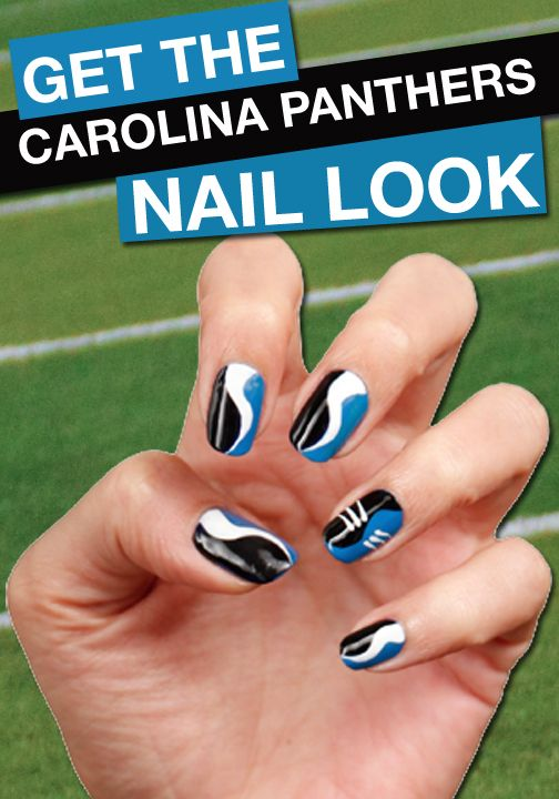 Go Panthers! Click for your favorite team's FANICURE! | Nail Looks |  Pinterest | Nails, Nail Art and Football nails - Go Panthers! Click For Your Favorite Team's FANICURE! Nail Looks