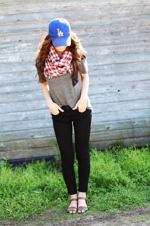 baseball hats tshirts and scarves.