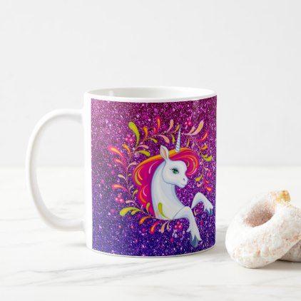 #glitter - #Rainbow Unicorn Pink & Purple Glitter-look Coffee Mug