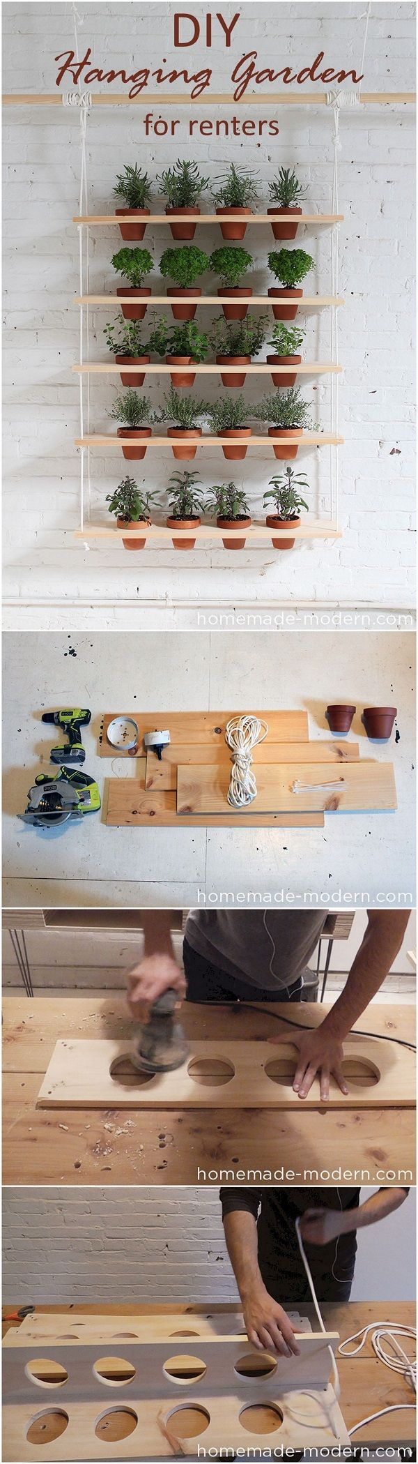 Check out this easy idea on how to make a #DIY hanging garden for #renters #homedecor #project DIY Home Decor Ideas @ ISD #DIYHomeDecorCraftsOnABudget