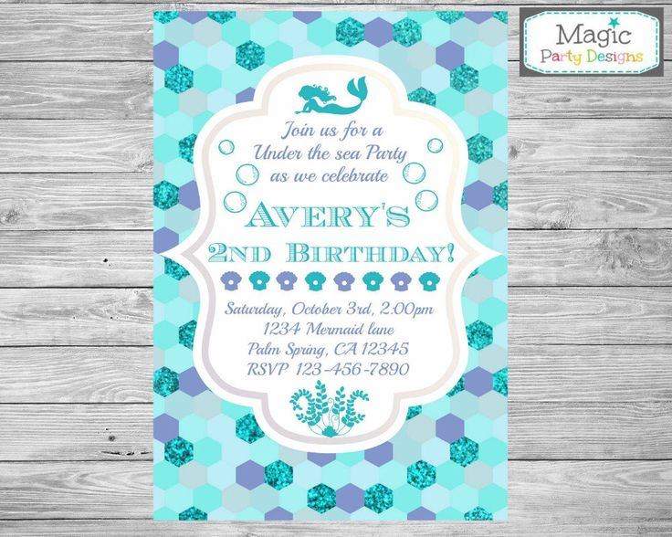 mermaid invitation mermaid birthday invitation under the sea invitation mermaid party invitation - Under The Sea Party Invitations