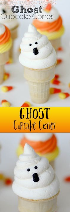 Ghost Cupcake Cones -- I make these every year for Halloween and everyone loves them! Simple, yummy, adorable. Perfect!