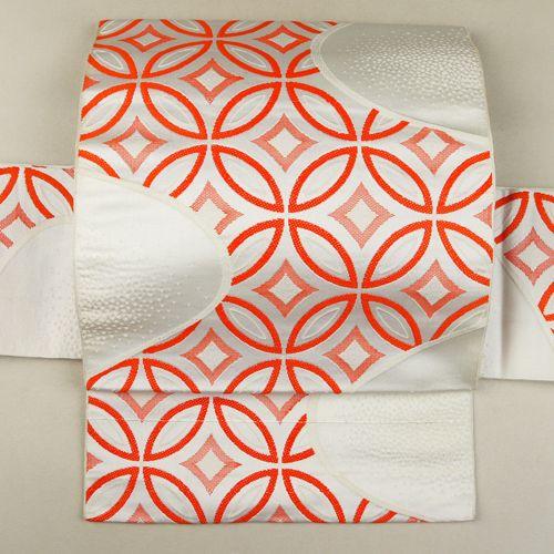White and orange, nagoya obi / 【名古屋帯】白地七宝柄六通化繊八寸   #Kimono #Nikko #Japan http://global.rakuten.com/en/store/