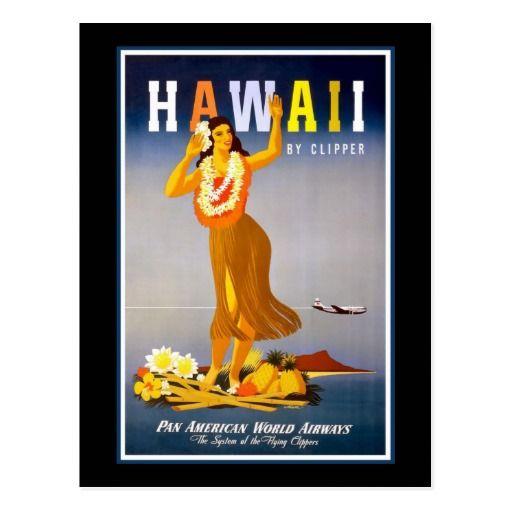 Hawaï - fille de danse polynésienne hawaïenne cartes postales