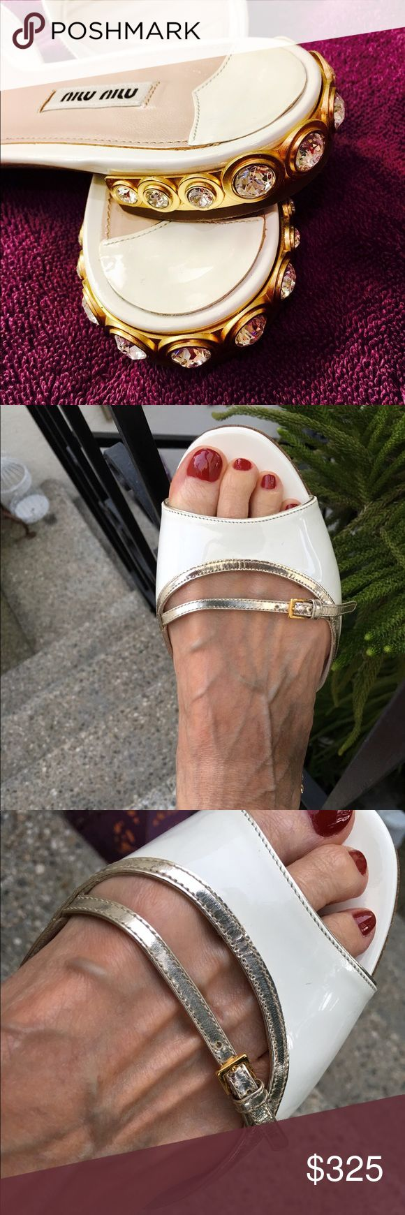 Miu Miu white patent leather jewel heel sandal 0.8 inch crystal embellished heels. White patent leather with silver leather adjustable strap. Topstich collar. Almond toe. Leather outsole. Made in Italy. Excellent condition. Miu Miu Shoes Sandals