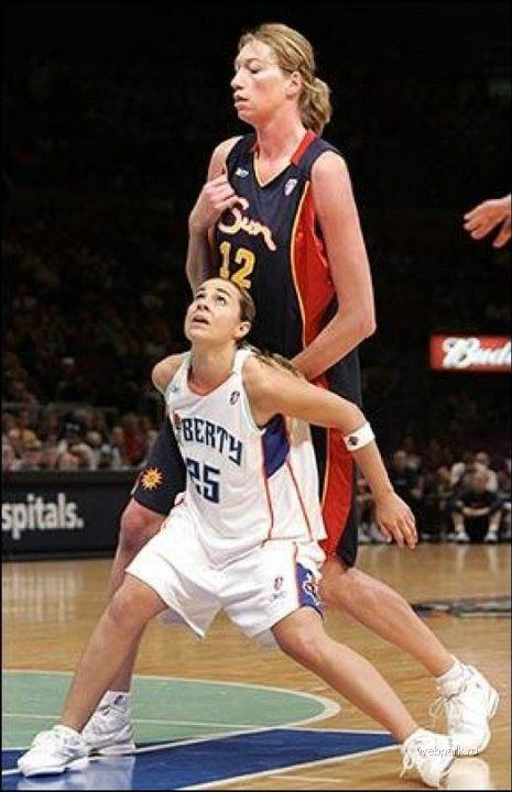 sports... wnba basketball tall vs short. ...wait, is this real? I know the player in front is Becky Hammon!