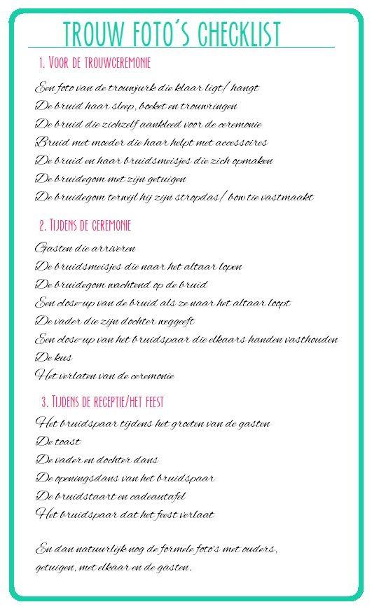 Wedding Pictures checklist