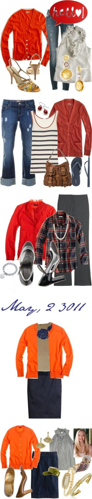orange cardigan by cathyfred on Polyvore featuring мода, J.Crew, G-Star Raw, Via Spiga, Marco Bicego, Paige Denim, Banana Republic, pencil skirt, orange and Forever 21